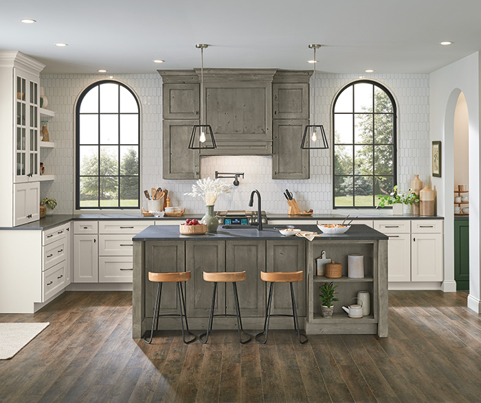 Culver Painted Agreeable Gray and Foxhall Green with Rustic Alder Thicket Kitchen Cabinets