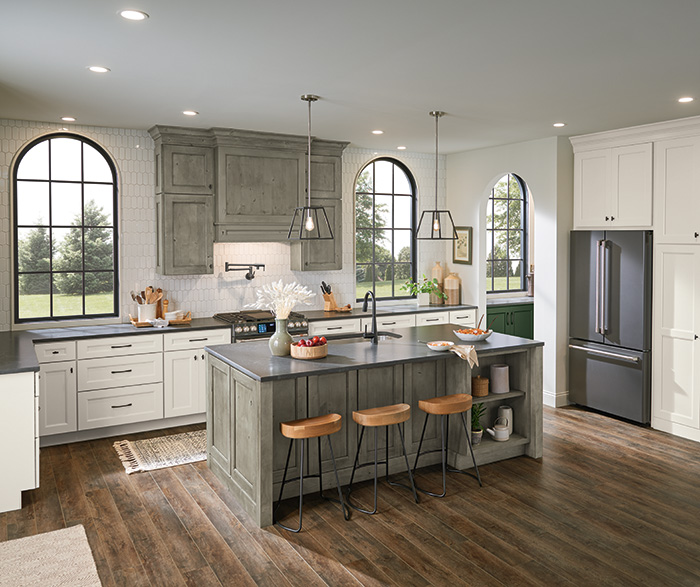 Culver Painted Agreeable Gray and Foxhall Green with Rustic Alder Thicket Kitchen Cabinets 4