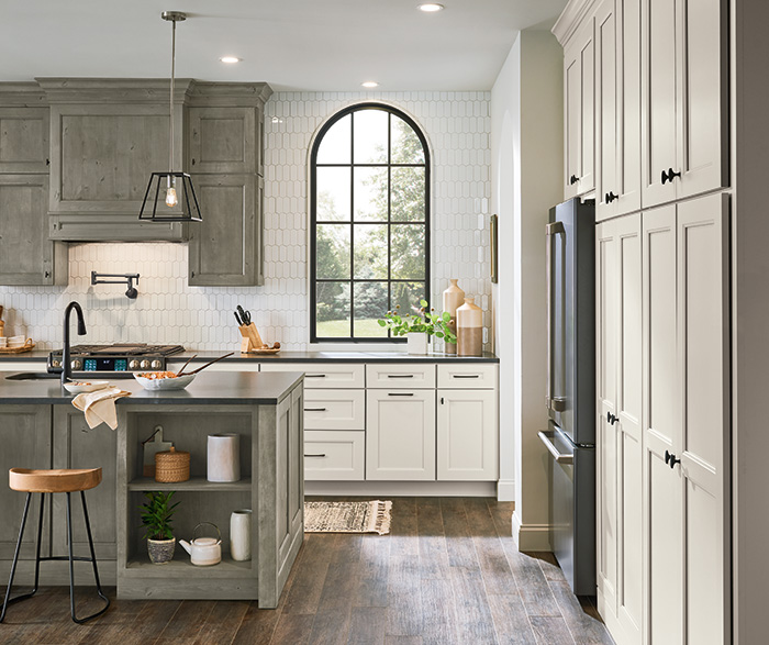 Culver Painted Agreeable Gray and Foxhall Green with Rustic Alder Thicket Kitchen Cabinets 3