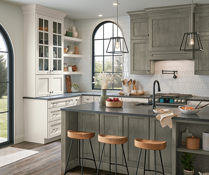 Culver Painted Agreeable Gray and Foxhall Green with Rustic Alder Thicket Kitchen Cabinets 5