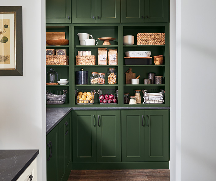 Culver Painted Agreeable Gray and Foxhall Green with Rustic Alder Thicket Kitchen Cabinets 2