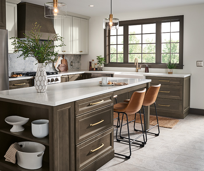 Haskett Cherry Colt and TrueColor Icy Avalanche Kitchen Cabinets