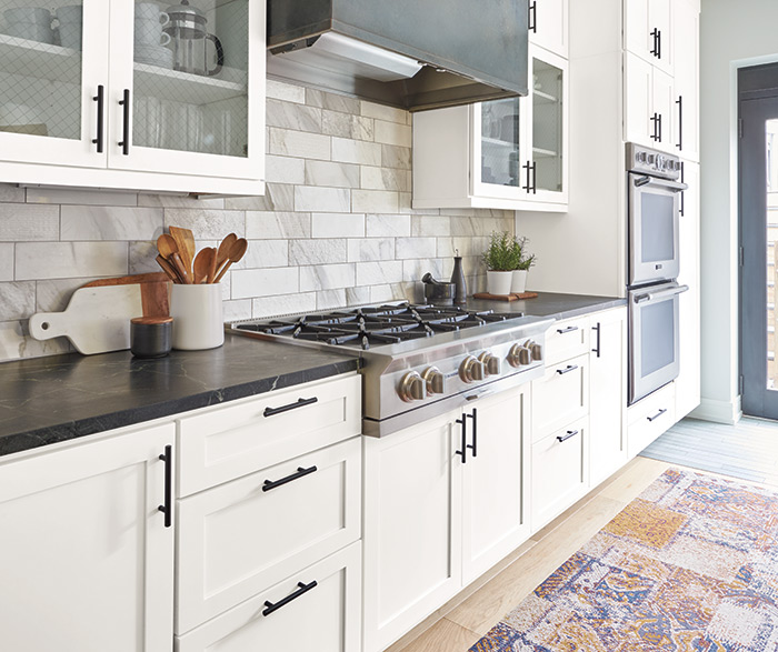 Casual Kitchen Painted White and Forest Floor