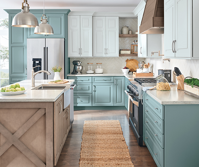 Rustic Kitchen Painted Interesting Aqua K2