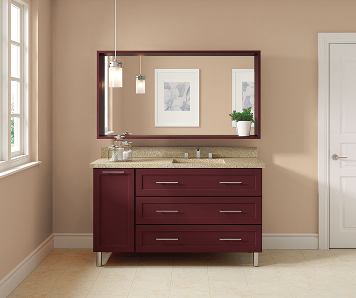 Transitional Bathroom Maple Winery Red