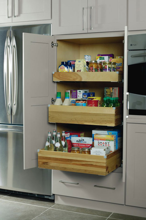 Deep Roll Trays in Pantry Top Unit