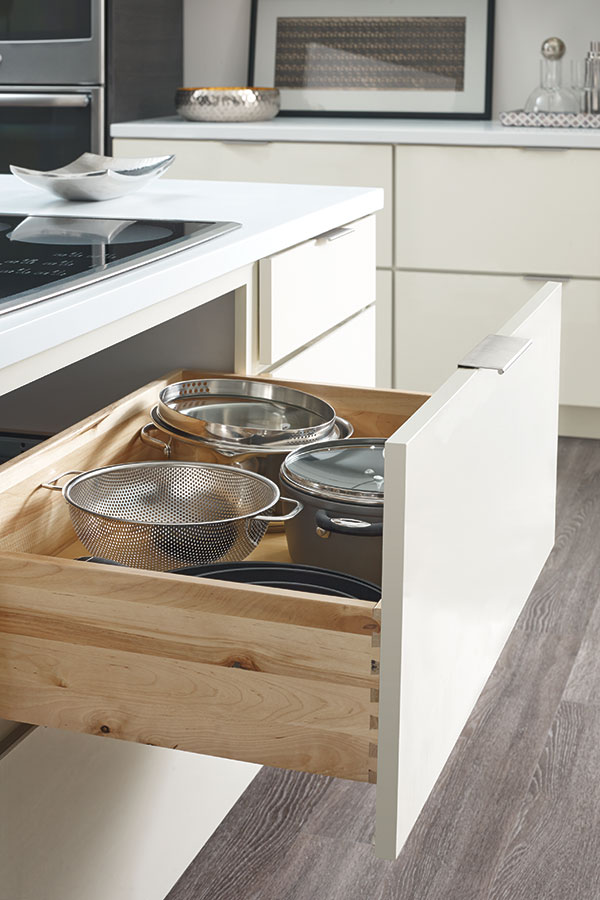 Two Drawer Base Cabinet with Scooped Drawer Modification